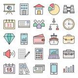 Commercez les icônes d'isolement de vecteur réglées consistent avec le bâtiment, le graphique, l'équipe, le dollar, le graphique  illustration de vecteur