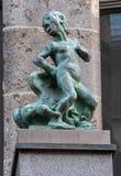 Commerciële bouw van Hof van beeldhouwwerk de versierende Vlekken in Leipzig, Duitsland royalty-vrije stock afbeeldingen