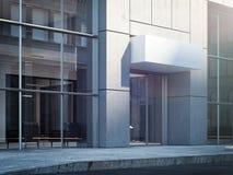 Commerciële centrumingang met leeg uithangbord, het 3d teruggeven Stock Afbeeldingen