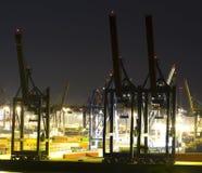 Commerciële haven bij nacht Royalty-vrije Stock Foto