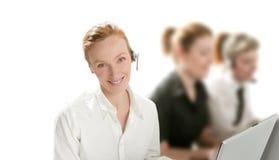 Commerciële helpdesk met mooie vrouw Stock Foto