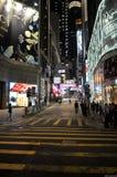 Commerciële het districts 's nachts Straten van Hong Kong Stock Foto's