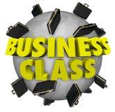 Commerciële Klassenaktentassen rond de Reisvlucht van de Wereld Eerste Klasse Royalty-vrije Stock Afbeeldingen