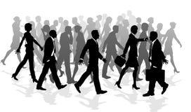 Commerciële lopende menigte meeslepende mensen stock illustratie