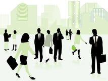 Commerciële mensen en stad in groen Royalty-vrije Stock Foto's