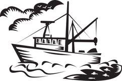 Commerciële overzeese van het vissersbootschip houtdruk Stock Afbeelding