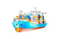 Commerciële schip van de waterverf het blauwe en rode lading met vele gekleurde containers aan boord van geïsoleerd verwijderd op vector illustratie