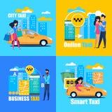Commerciële Slimme Online Stadstaxi Vierkante affiche stock illustratie