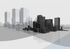 Commerciële stad stock illustratie