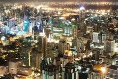 Commerciële stad bij nacht Stock Afbeelding