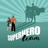 Commerciële team super helden die affiche op de markt brengen Stock Foto