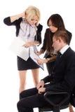 Commerciële teamrapporten aan de leider Stock Foto's