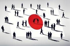 Commerciële van de silhouetgroep Mensen het Globale Concept van Japan vector illustratie