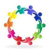 Commerciële van het embleemgroepswerk vergaderingsmensen in een het pictogrammalplaatje van het cirkel creatief ontwerp stock illustratie