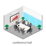 Commerciële vergadering in een bureau Bedrijfspresentatievergadering in een bureau rond een lijst royalty-vrije illustratie