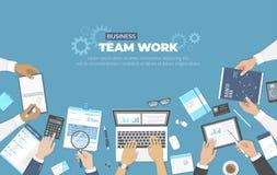 Commerciële vergadering en brainstorming Het werkconcept van het bureauteam Analyse, planning, het raadplegen, projectleiding Bus vector illustratie