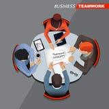 Commerciële vergadering en brainstorming Vlak Ontwerp Royalty-vrije Stock Foto's