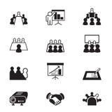 Commerciële vergadering en conferentie geplaatste pictogrammen Stock Afbeelding