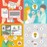 Commerciële vergadering en groepswerk vlakke illustratie Stock Afbeelding