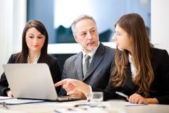 Commerciële vergadering: groep zakenlui op het werk Stock Afbeelding