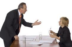 Commerciële vergadering - mens het debatteren royalty-vrije stock foto