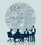 Commerciële vergadering met pictogramachtergrond Royalty-vrije Stock Fotografie