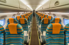 Commerciële Vliegtuigen Binnenlandse Cabine Royalty-vrije Stock Foto
