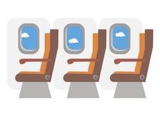 Commerciële vliegtuigencabine Rijen van zetels onderaan de doorgang Vector stock illustratie