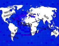 Commerci del globo di manifestazioni ed affare mondiali commerciali Immagini Stock Libere da Diritti