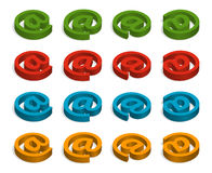 Commercial at. Green, red, blue and orange icons Stock Image