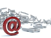 Commercial at. Red Commercial at on letters background Royalty Free Stock Image