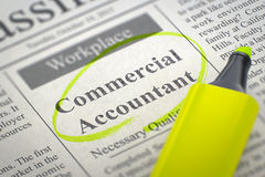 Commercial Accountant Job Vacancy. 3D. Commercial Accountant - Vacancy in Newspaper, Circled with a Yellow Highlighter. Blurred Image. Selective focus. Job Royalty Free Stock Photos
