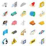 Commercial activity icons set, isometric style. Commercial activity icons set. Isometric set of 25 commercial activity vector icons for web isolated on white Stock Photos
