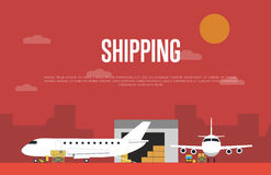 Commercial air shipping service banner. Vector illustration. Forklift truck loading cargo jet airplane and freight truck in airport terminal. Delivery Stock Photos