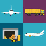 Commercial air shipping service icons set Stock Images