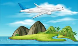 Commercial aircraft above island. Illustration vector illustration