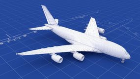Commercial Aircraft Blueprint Stock Image