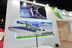 Commercial of Aircraft Corporation of China (COMAC) booth showcasing C919 twin jet passenger plane at Singapore Airshow Royalty Free Stock Photography