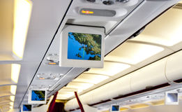 Commercial aircraft interior stock images