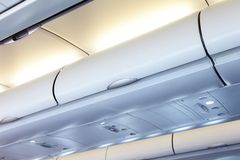 Commercial aircraft interior Stock Photos