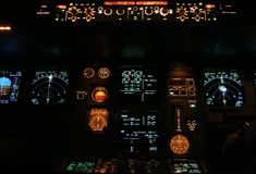 Commercial aircraft panel. At night Royalty Free Stock Photo