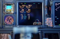 Commercial aircraft panel at night. Airplane Instruments primary flight display royalty free stock photos