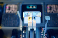 Commercial aircraft panel at night Stock Photos