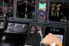 Commercial aircraft panel at night. Airplane Instruments primary flight display stock photos