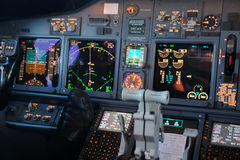 Commercial aircraft panel at night Stock Image
