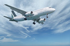 Commercial aircraft in sky. Against the background of the cloudy sky flying commercial aircraft royalty free stock photography