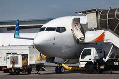 Commercial Airline. An Aircraft of a low cost commercial airline getting ready for departure Royalty Free Stock Photos