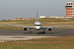 Commercial airliner. Straight front view Royalty Free Stock Images