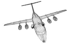 Commercial Airliner. Body structure, wire model Stock Photo