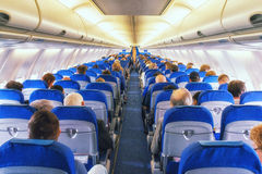Commercial airliner cabin. A View Inside A Commercial Airliner Stock Image